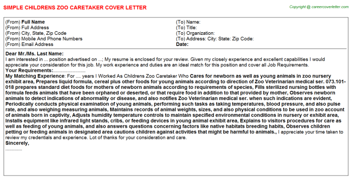 childrens zoo caretaker cover letter template