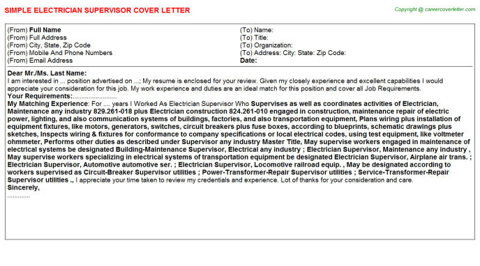 Electrician Supervisor Cover Letter Template