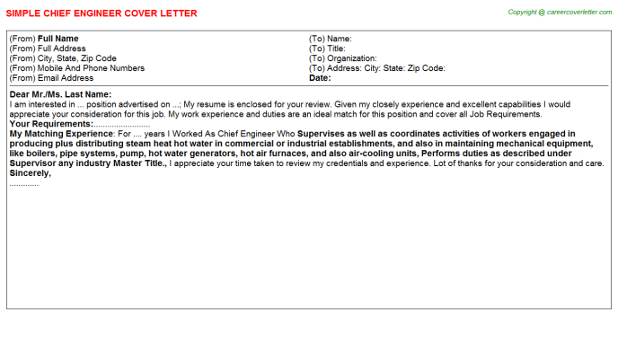 Chief Engineer Cover Letter Template