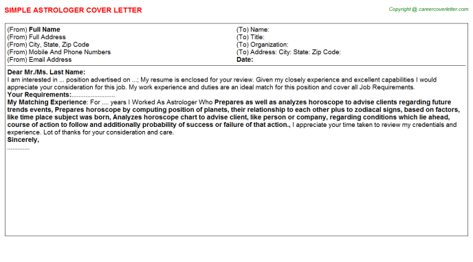 Astrologer Job Cover Letter Template
