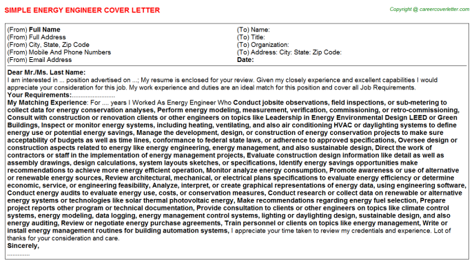 Energy Engineer Cover Letters