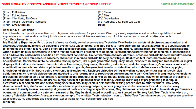 Quality Control Assembly Test Technician Job Cover Letter
