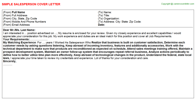 Salesperson Cover Letter Template