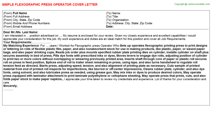 Flexographic press Operator Job Cover Letter Template