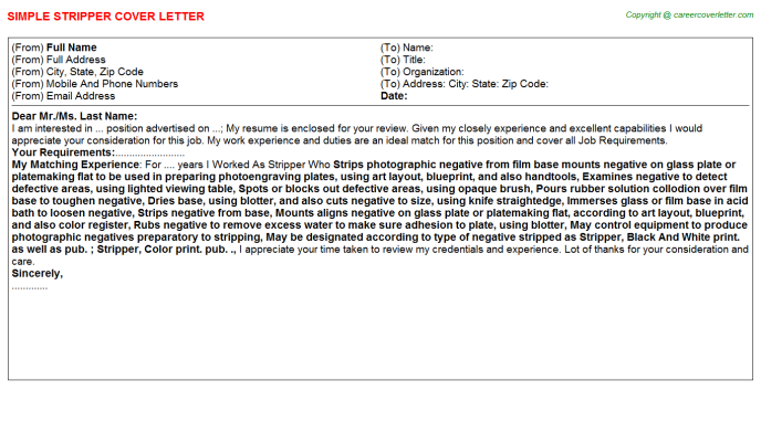 Stripper Cover Letter Template