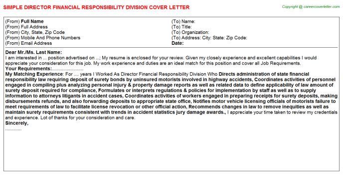 director financial responsibility division cover letter template