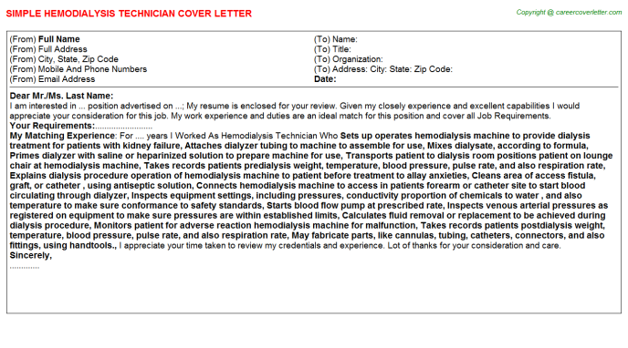 Dialysis Ccht Cover Letters