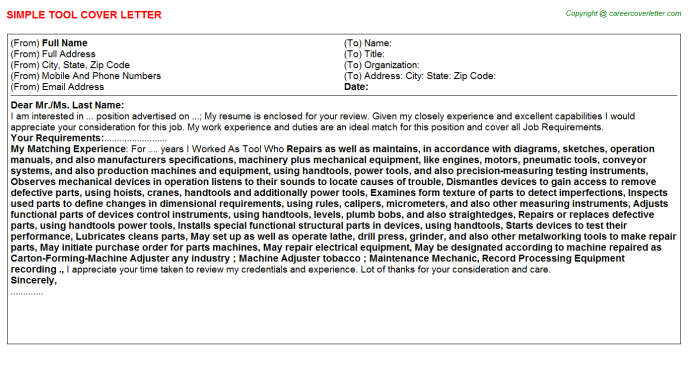 Tool Cover Letter Template