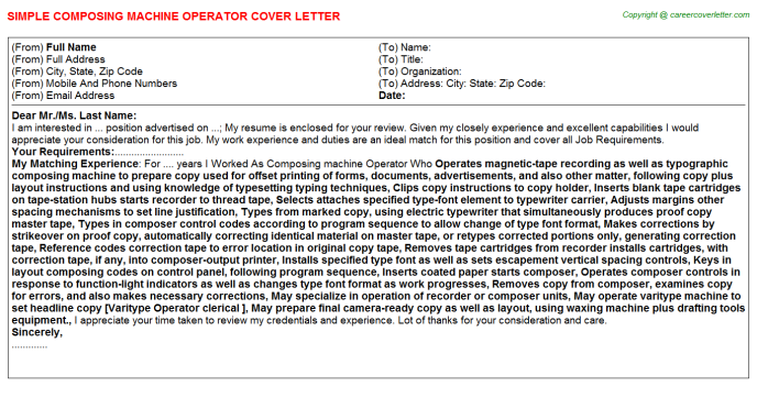 Composing machine Operator Job Cover Letter Template