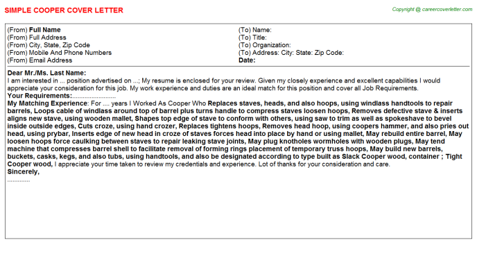 Cooper Cover Letter Template