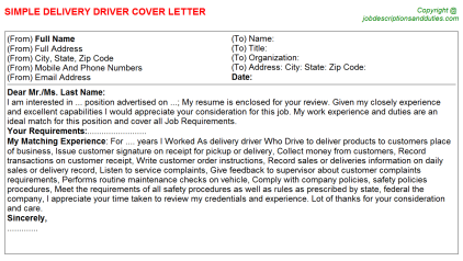 Delivery Driver Job Cover Letter Template