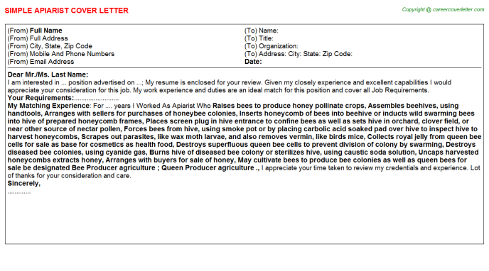Apiarist Job Cover Letter Template