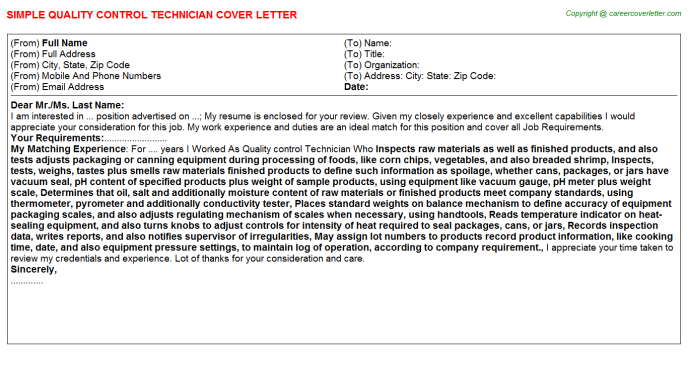 Quality Control Technician Job Cover Letter Example