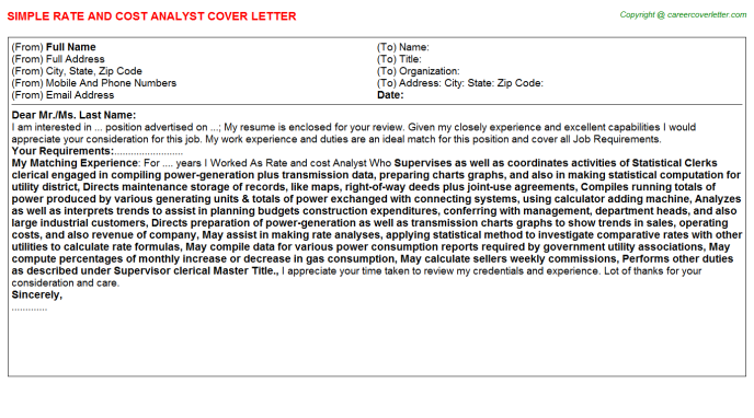 rate and cost analyst cover letter template