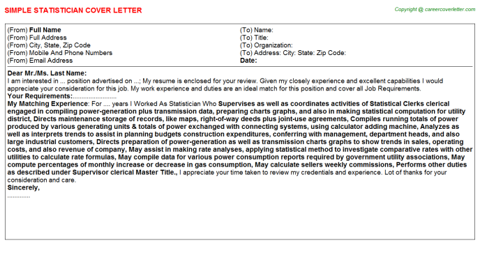 Statistician Cover Letter Template