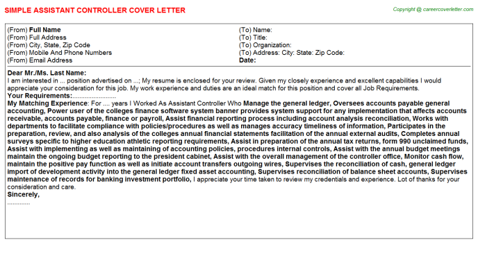 Assistant Controller Cover Letter Template