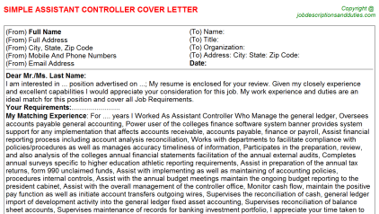 Assistant Controller Job Cover Letter Template