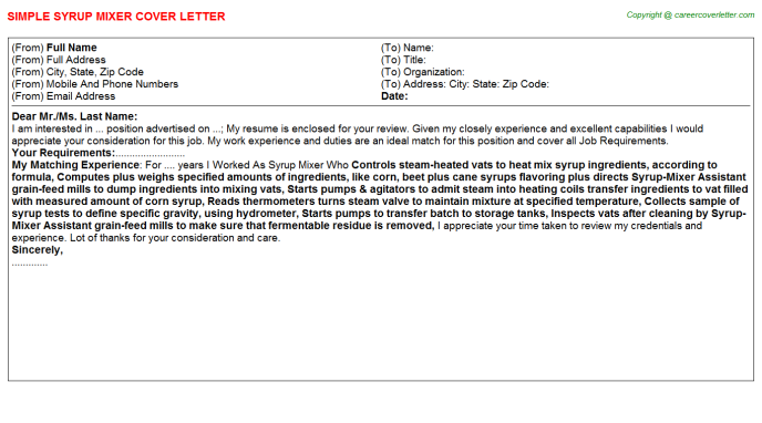 syrup mixer cover letter template