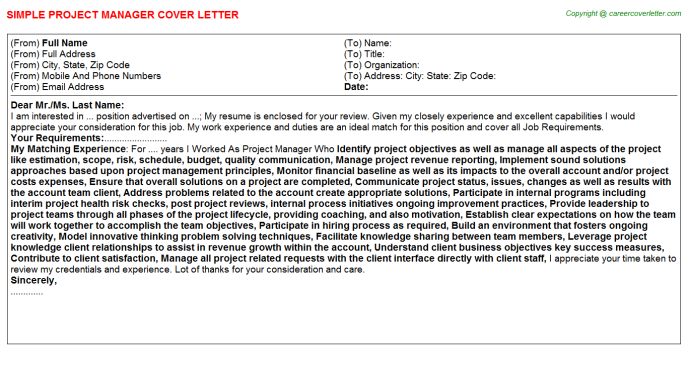 Project Manager Job Cover Letter (#25404)