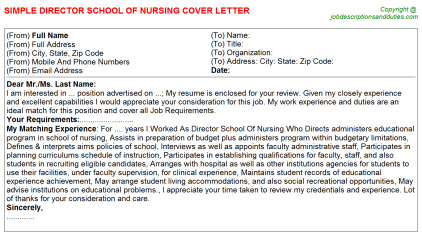 Director School Of Nursing Job Cover Letter Template