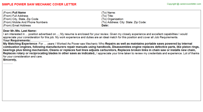 Power Saw Mechanic Job Cover Letter Template