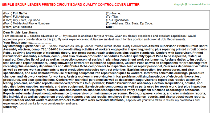 Group Leader Printed Circuit Board Quality Control Cover Letter Template