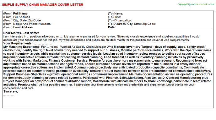 Supply Chain Manager Cover Letter Template
