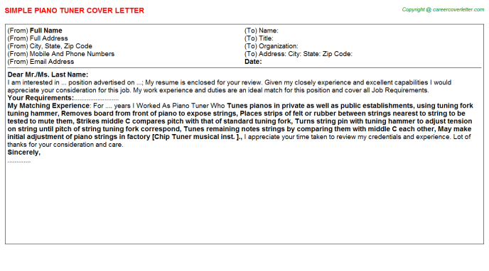 Piano Tuner Cover Letter Template