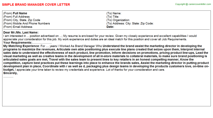 Brand Manager Cover Letter Template
