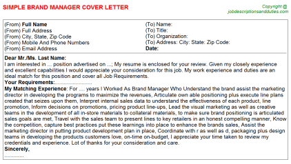 Brand Manager Job Cover Letter Template