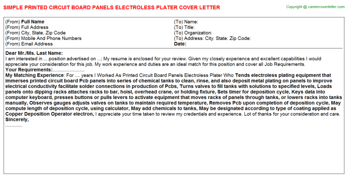 printed circuit board panels electroless plater cover letter template
