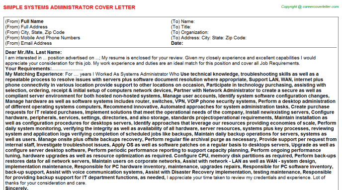 Systems Administrator Cover Letter Template