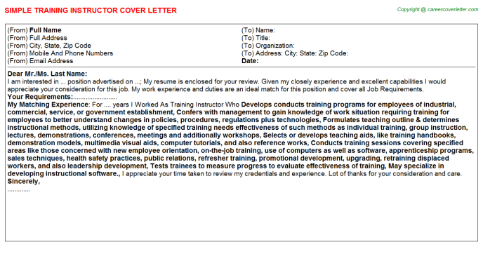 Training Instructor Cover Letter Template