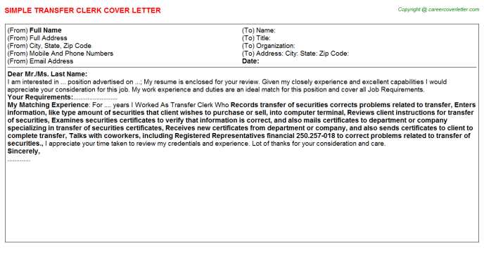 Transfer Clerk Cover Letter Template