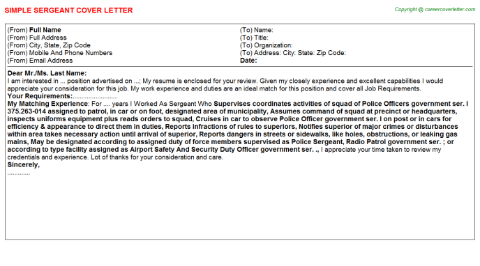 Sergeant Cover Letter Template
