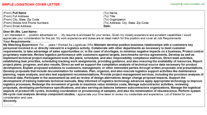 Logistician Job Cover Letter Template