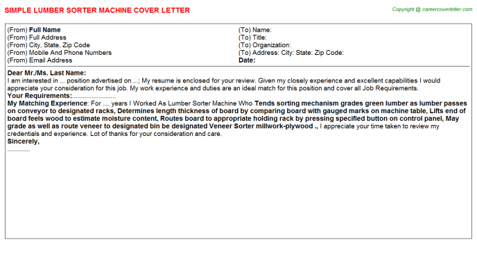 Lumber Sorter Machine Job Cover Letter Template