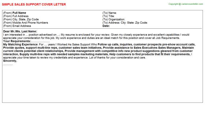Sales Support Cover Letter Template