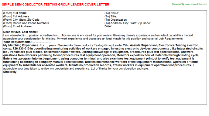 Semiconductor Testing Group Leader Job Cover Letter