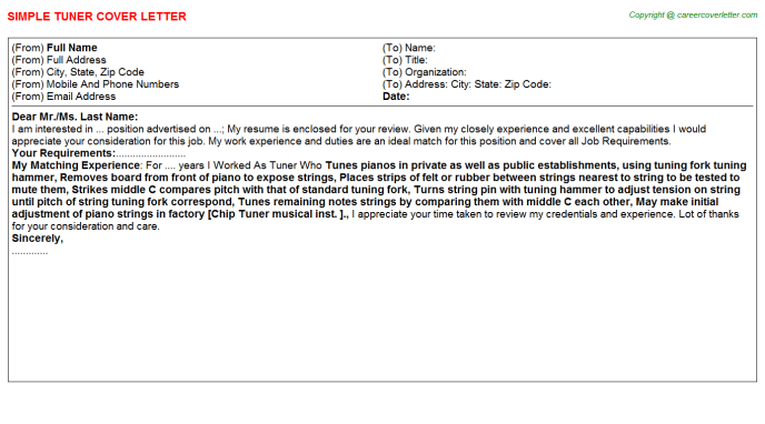 Tuner Job Cover Letter Template