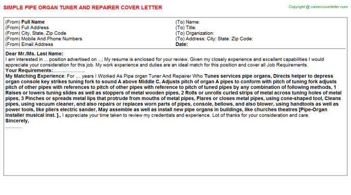 Pipe Organ Tuner And Repairer Cover Letter Template