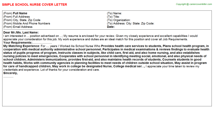 School Nurse Cover Letter Template