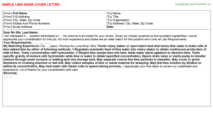 Lime Mixer Job Cover Letter Template