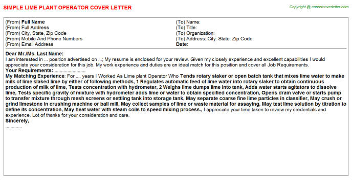 Lime Plant Operator Job Cover Letter Template