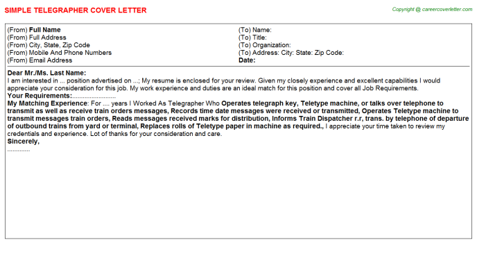Telegrapher Cover Letter Template