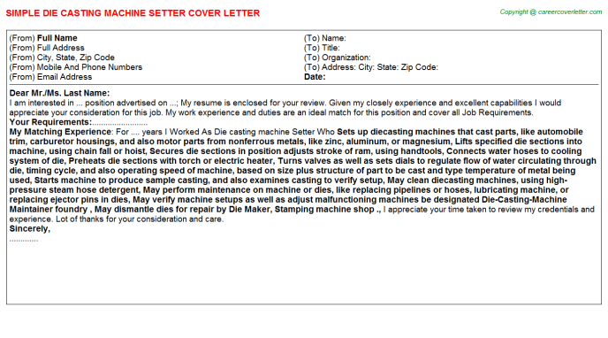Die casting machine Setter Cover Letter Template