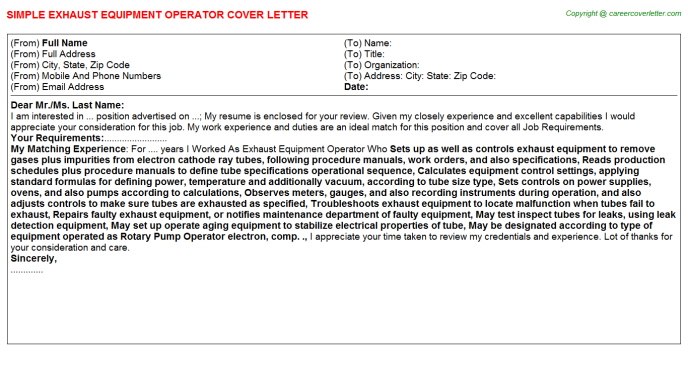 Exhaust Equipment Operator Cover Letter Template