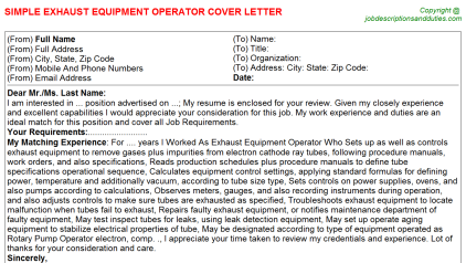 Heavy Equipment Rental Cover Letters