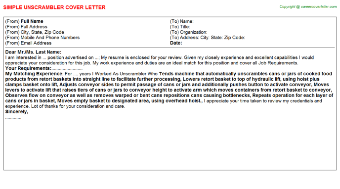 Unscrambler Job Cover Letter Template