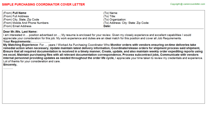 Purchasing Coordinator Job Cover Letter